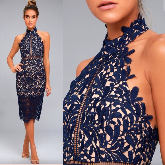51f60a3d6d1a7 Lulus divine destiny navy blue beige lace dress